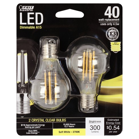 Feit A15 40-Watt Dimmable Filament LED Light Bulb Intermediate Base (2 Pack) - Clear - image 1 of 2