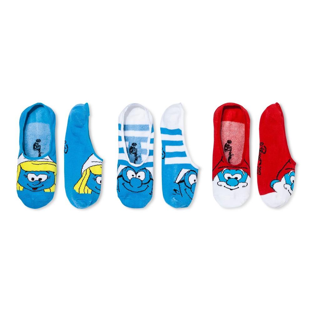 Womens Smurfs 3-pk Peds - Blue 9-11