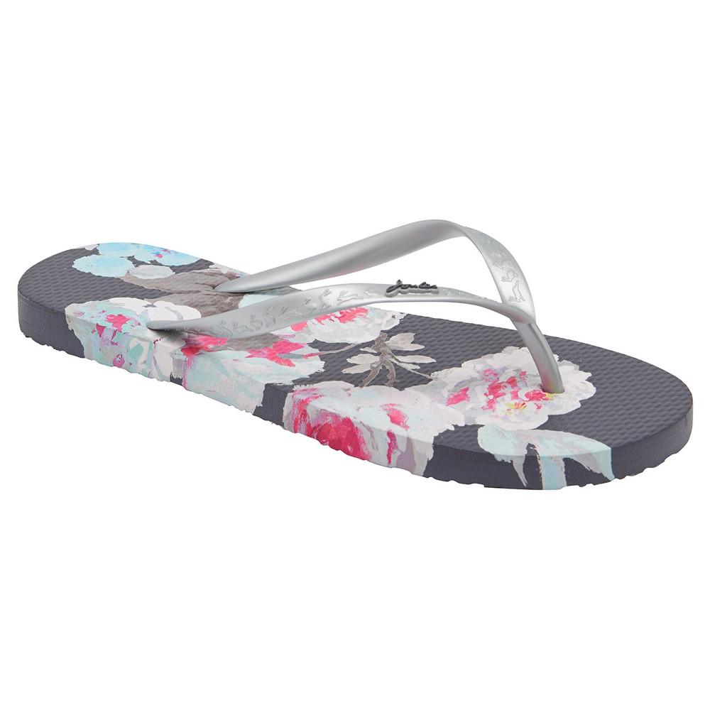 Womens Joules Sandy Beau Bloom Flip Flop Sandals - Gray 9