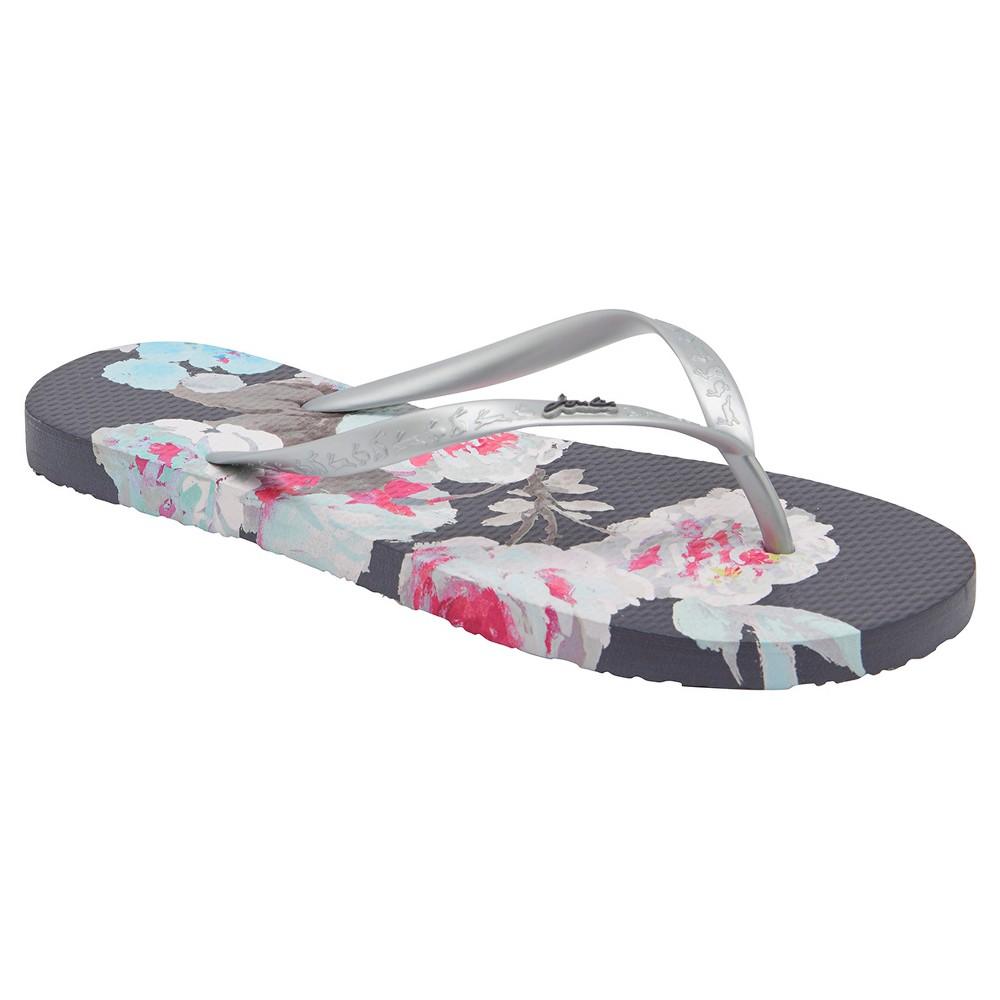 Womens Joules Sandy Beau Bloom Flip Flop Sandals - Gray 6