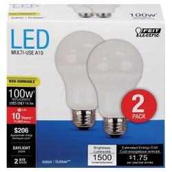 Feit A19 100-Watt LED Light Bulb (2 Pack) - Soft White