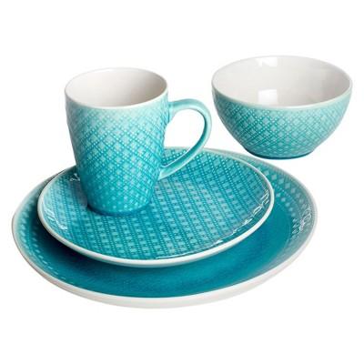 Euro Ceramica® Palma Stoneware 16pc Dinnerware Set - Teal