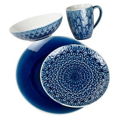 Euro Ceramica® Peacock Stoneware 16pc Dinnerware Set - Blue