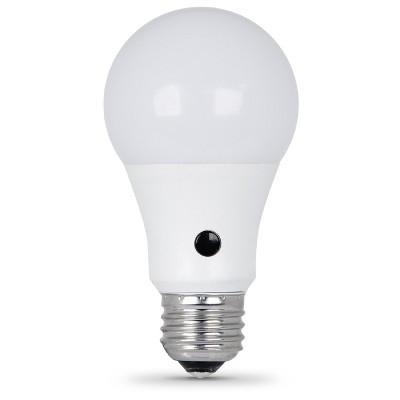 feit a19 60watt led dusk to dawn sensor light bulb 3000k soft white