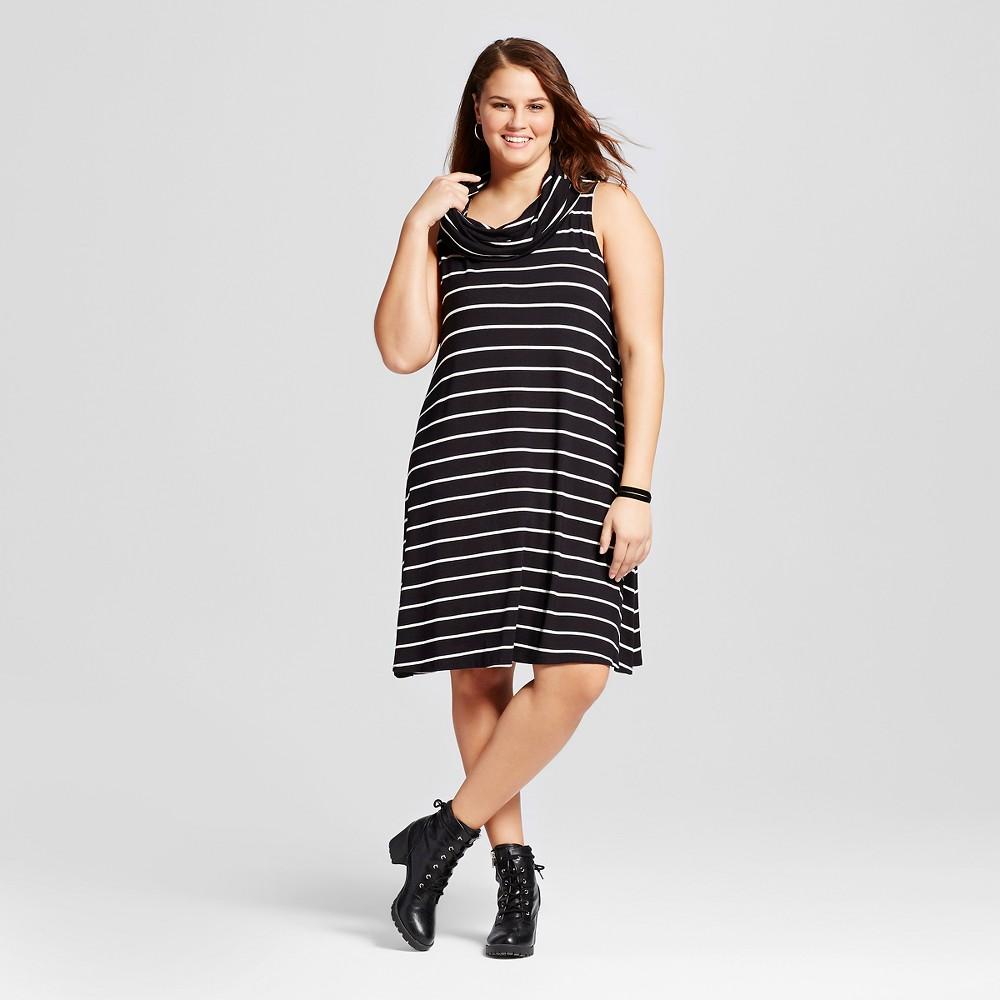 Women's Plus Size Knit Cowl Neck Dress Multicolored 1X – Born Famous