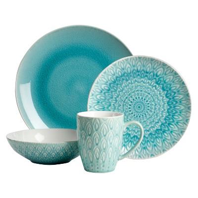 Euro Ceramica® Peacock Stoneware 16pc Dinnerware Set - Turquoise