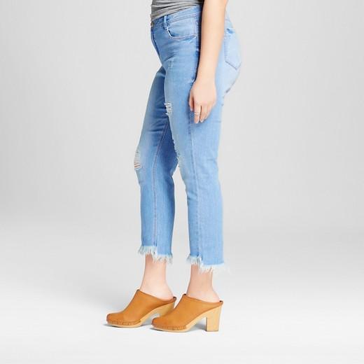 Women's Plus Size Destructed Fringe Hem Skinny Jean Medium Denim ...