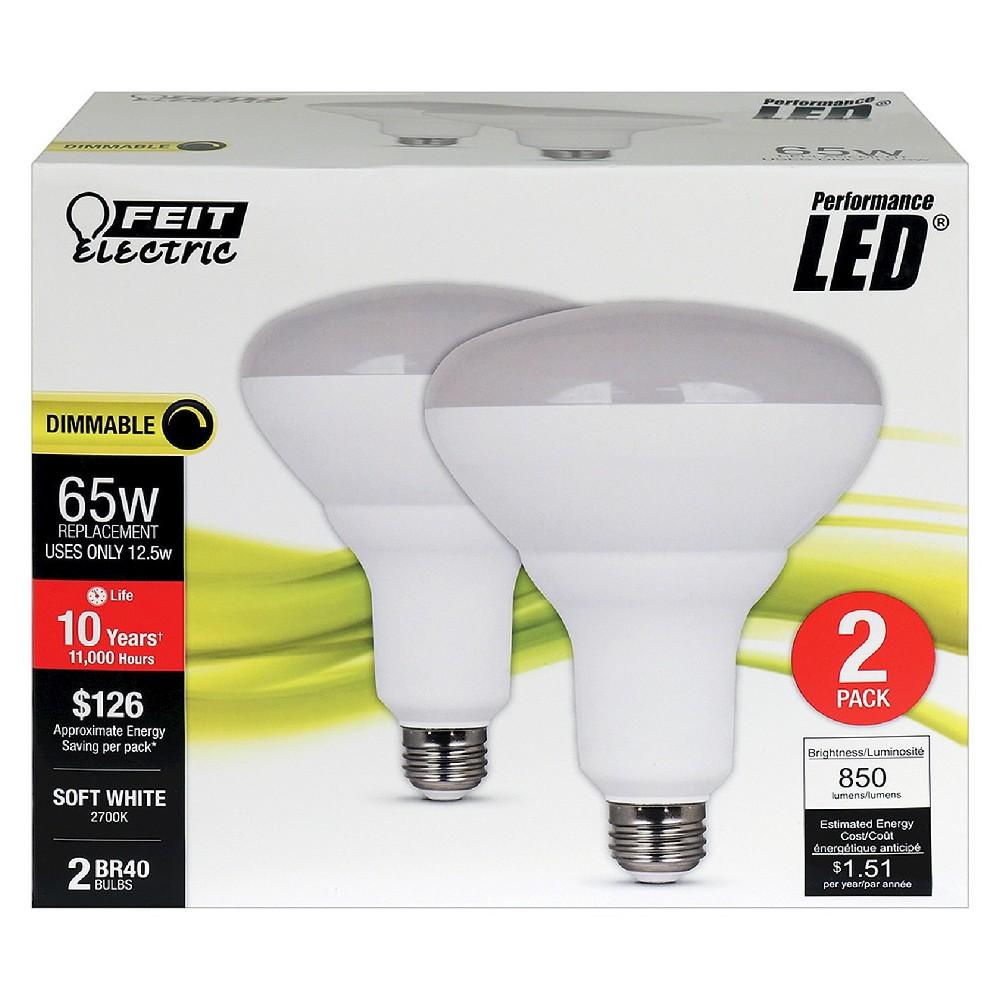 Feit BR40 65-Watt Dimmable Led Light Bulb (2 Pack) 2700K - Soft White