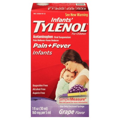 Tylenol Infants Pain Reliever Acetaminophen Grape 1 oz