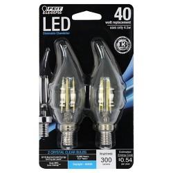 Feit 40-Watt Dimmable Filament LED Decorative Light Bulb Bent Tip Candelabra Base (2 Pack) 5000K - Clear