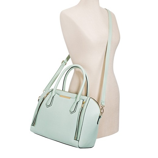 Women's Solid Satchel Faux Leather Handbag with Removable ...
