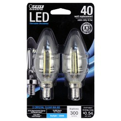 Feit 40-Watt Dimmable Filament LED Decorative Light Bulb Torpedo Tip Candelabra Base (2 Pack) 5000K - Clear