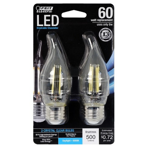 Feit 60-Watt Dimmable Filament LED Decorative Light Bulb Bent Tip Medium Base (2 Pack) 5000K - Clear - image 1 of 2