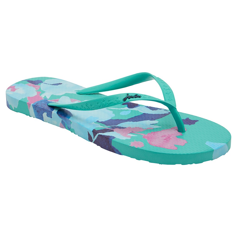 Womens Joules Sandy Floral Flip Flop Sandals - Green 5