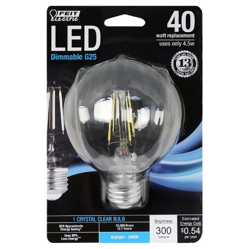 Feit G25 40-Watt Dimmable Filament LED Decorative Light Bulb Medium Base (1 Pack) 5000K - Clear - image 1 of 2