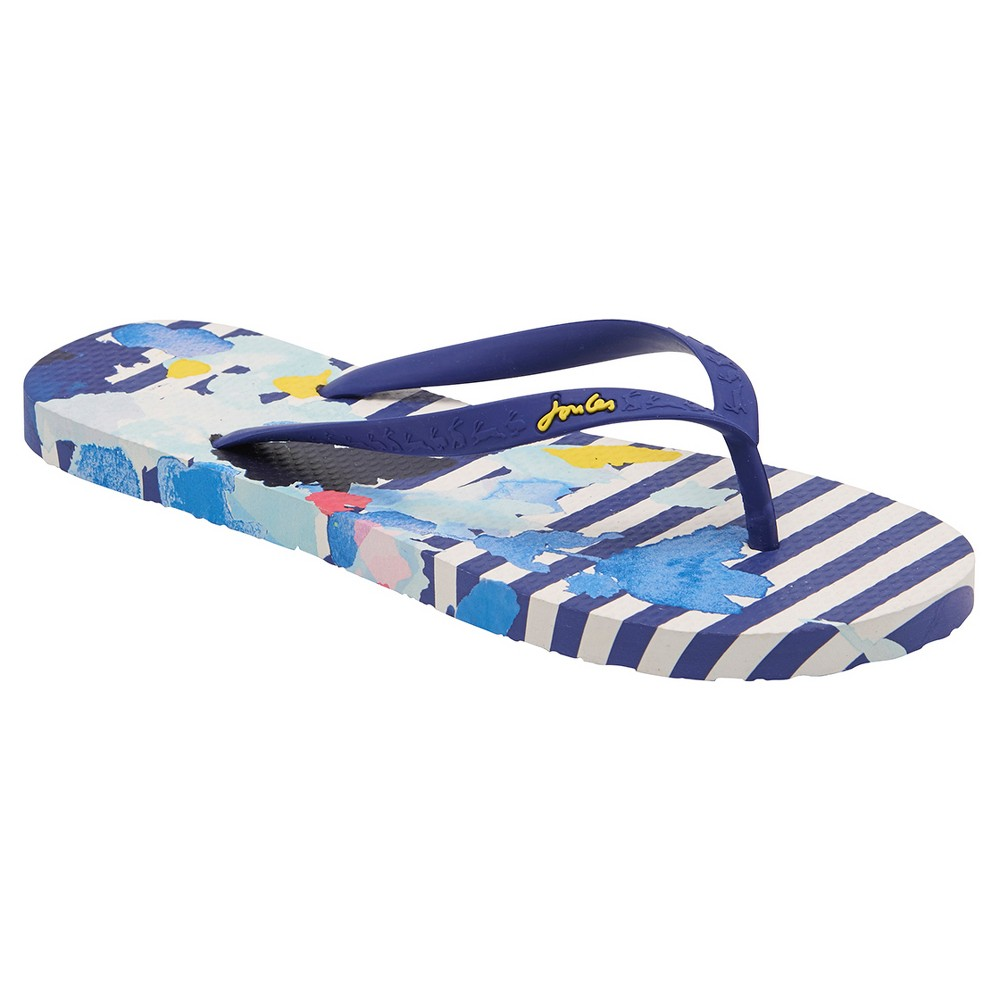 Womens Joules Sandy Floral Stripe Flip Flop Sandals - Navy/White 6, Multicolored