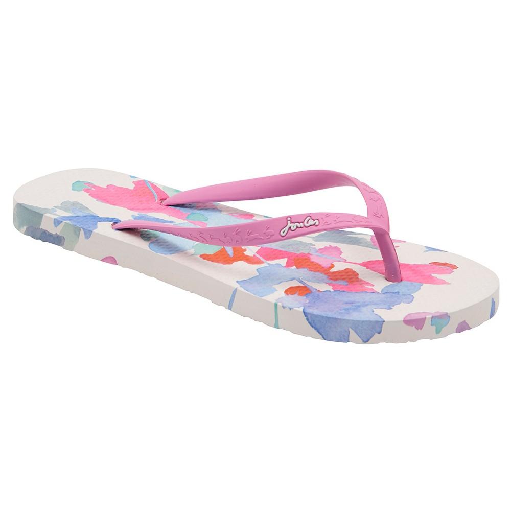 Womens Joules Sandy Bright Floral Flip Flop Sandals - White 8