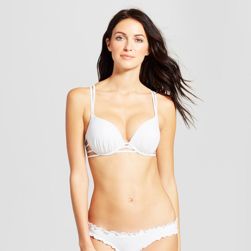 Womens Shell Strappy Cross Back Push-Up Halter Bikini Top - Shade & Shore White 38C