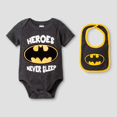 Baby Boys' Batman Bodysuit Set - Gray 3-6M