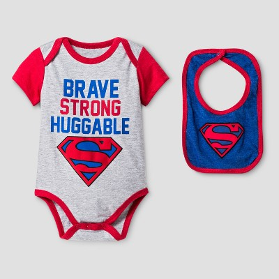 Baby Boys' Superman Bodysuit Sets Gray - DC Comics® NB