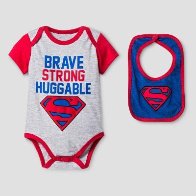 Baby Boys' Superman Bodysuit Sets Gray - DC Comics® 0-3M