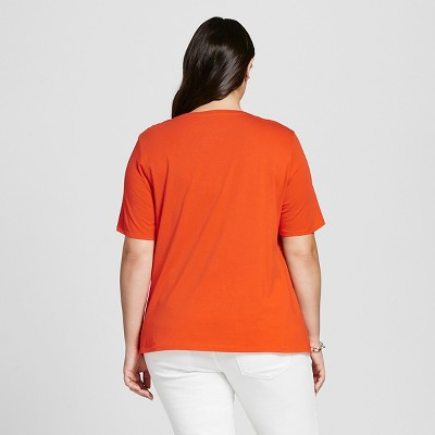 Women's Plus Size Eyelet Tee Orange Zing 4X - Ava & Viv