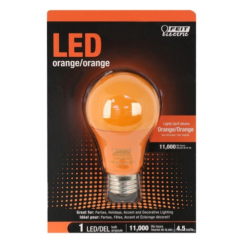 Feit A19 LED Performance Party Light Bulb - Orange - image 1 of 2
