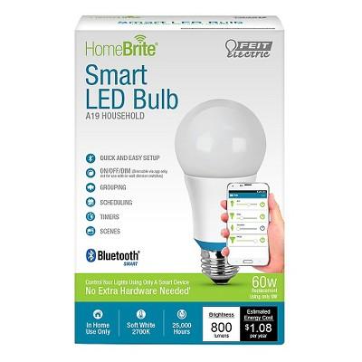 Feit HomeBrite A19 60-Watt Bluetooth Smart LED Dimmable Light Bulb 2700K - Soft White