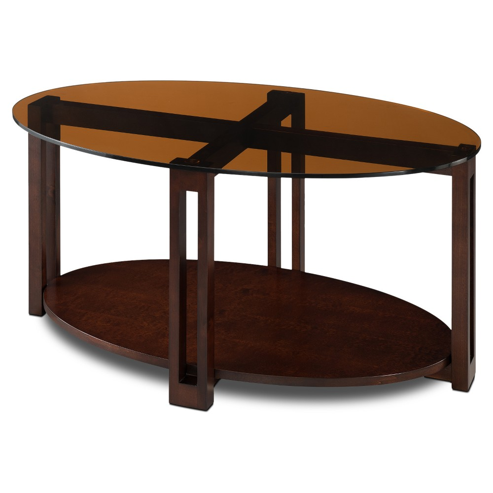 Glass Top Contemporary Coffee Table Oval Bronze Leick Furniture, Brown