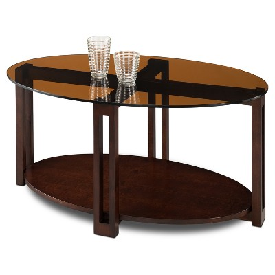 Glass Top Contemporary Coffee Table   Oval Bronze   Leick Furniture