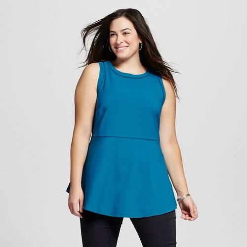 Women's Plus Size Peplum Tank Dynamic Blue 3X - Ava & Viv