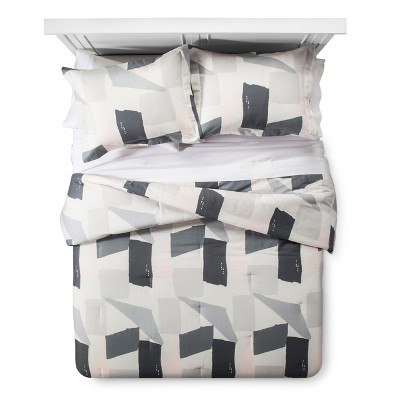 Gray & Cream Painterly Color Block Comforter Set (King)3-pc - Nate Berkus™