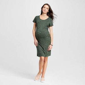 Maternity Heathered Body Con Short Sleeve Tee Dress Olive Heather L - Liz Lange for Target, Women