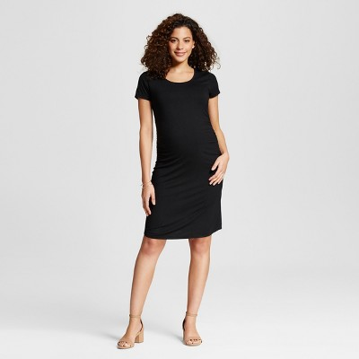 Maternity Body Con Short Sleeve Tee Dress Black L - Liz Lange for Target