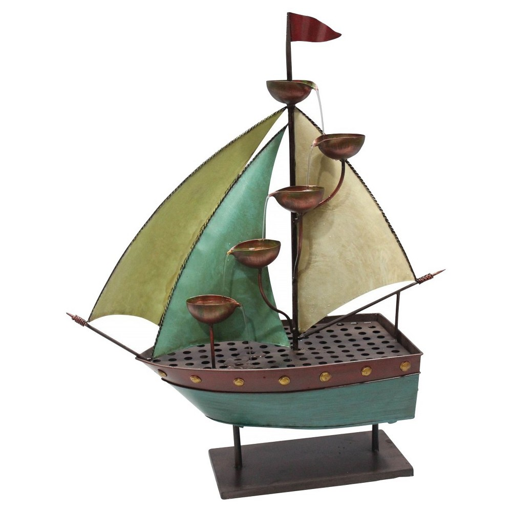 Alpine Corporation Sailor Ship With 5 Leaf Cup Tier Floor Fountain - Multi Color, Multi-Colored
