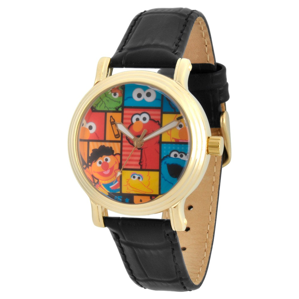 Womens Sesame Street Womens Gold Vintage Alloy Watch - Black