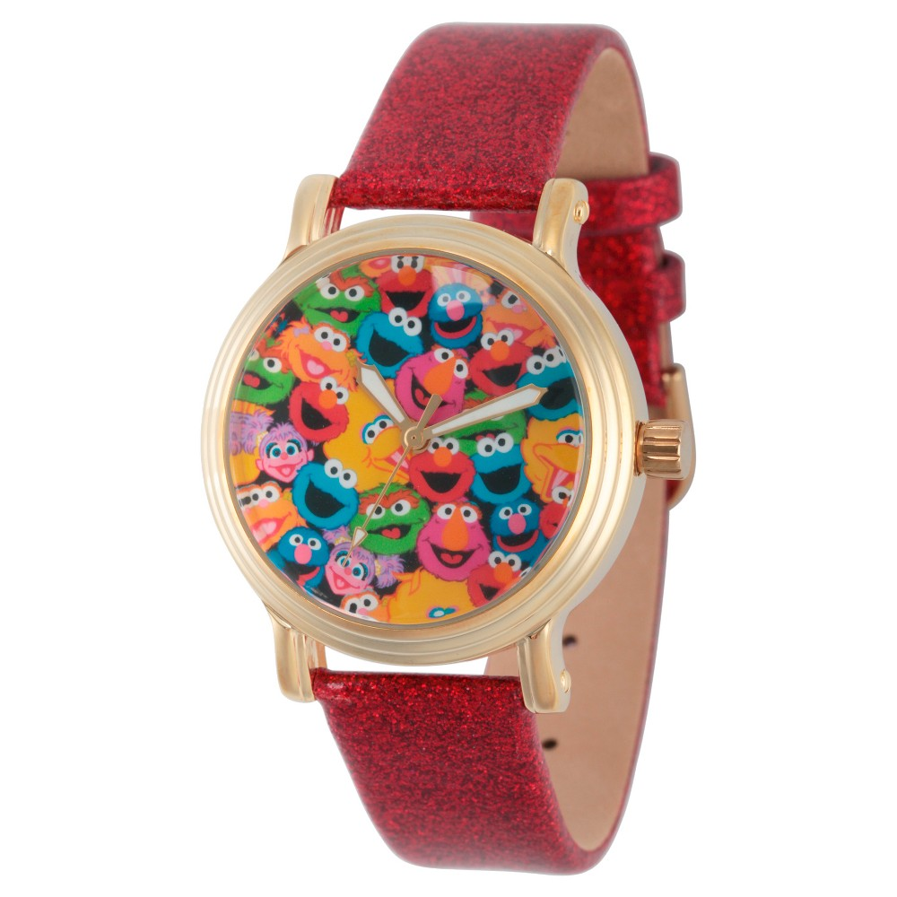 Womens Sesame Street Womens Gold Vintage Alloy Watch - Red
