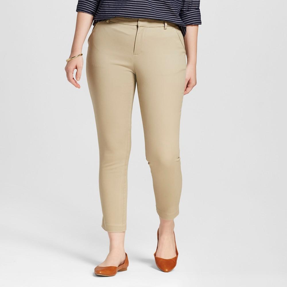 Womens Twill Curvy Classic Ankle Pants Vintage Khaki 4 - Merona, Beige