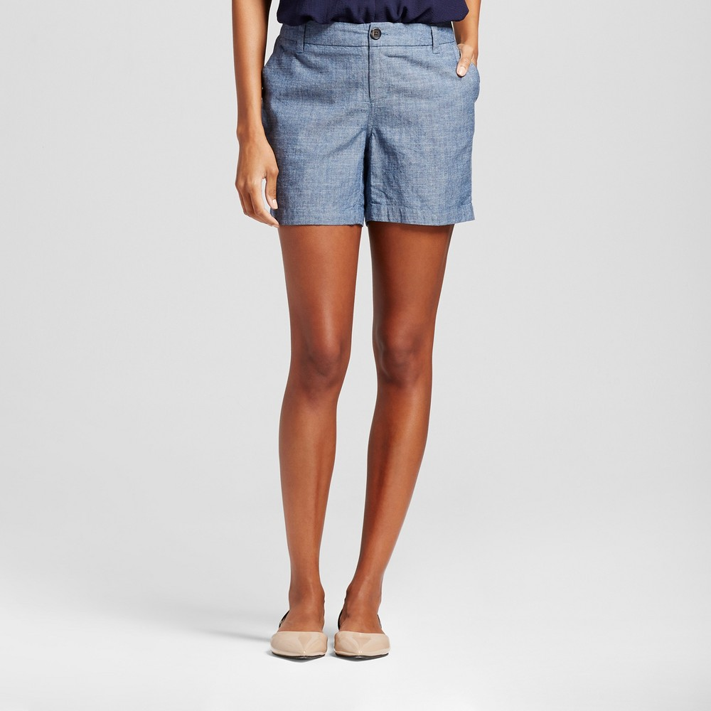 Womens Chambray Chino Shorts Indigo 14 - Merona, Blue