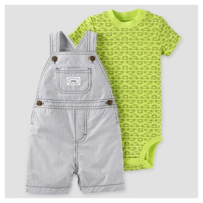 Baby Boys' 2pc Shortall Set - Just One You™ Made by Carter's® Gray/Lime 3M