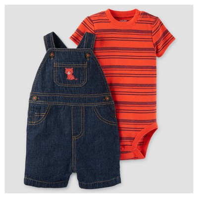 Baby Boys' 2pc Tiger Shortall Set - Just One You™ Made by Carter's® Red/Denim 9M