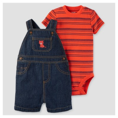 Baby Boys' 2pc Tiger Shortall Set - Just One You™ Made by Carter's® Red/Denim NB