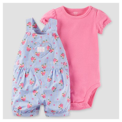 Baby Girls' 2pc Floral Shortall Set - Just One You™ Made by Carter's® Lavender/Pink 3M
