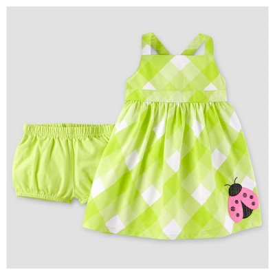 Baby Girls' Ladybug 2pc Dress Set - Just One You™ Made by Carter's® Yellow Gingham NB