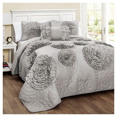 Fiorella Quilt 4 Piece Set (King)Gray - Lush Décor