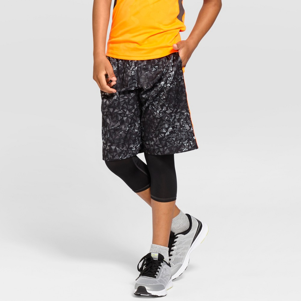 Boys Printed Lacrosse Shorts - C9 Champion Black Print M, Gray