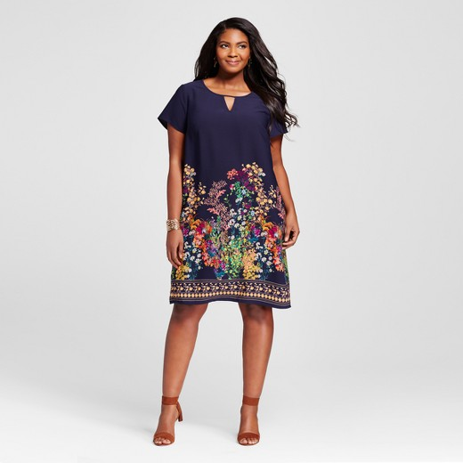 Women's Plus Size Navy Floral Shift Dress - Merona™ : Target