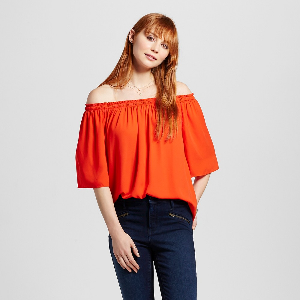 Womens Off the Shoulder Woven Top Orange M - Mossimo