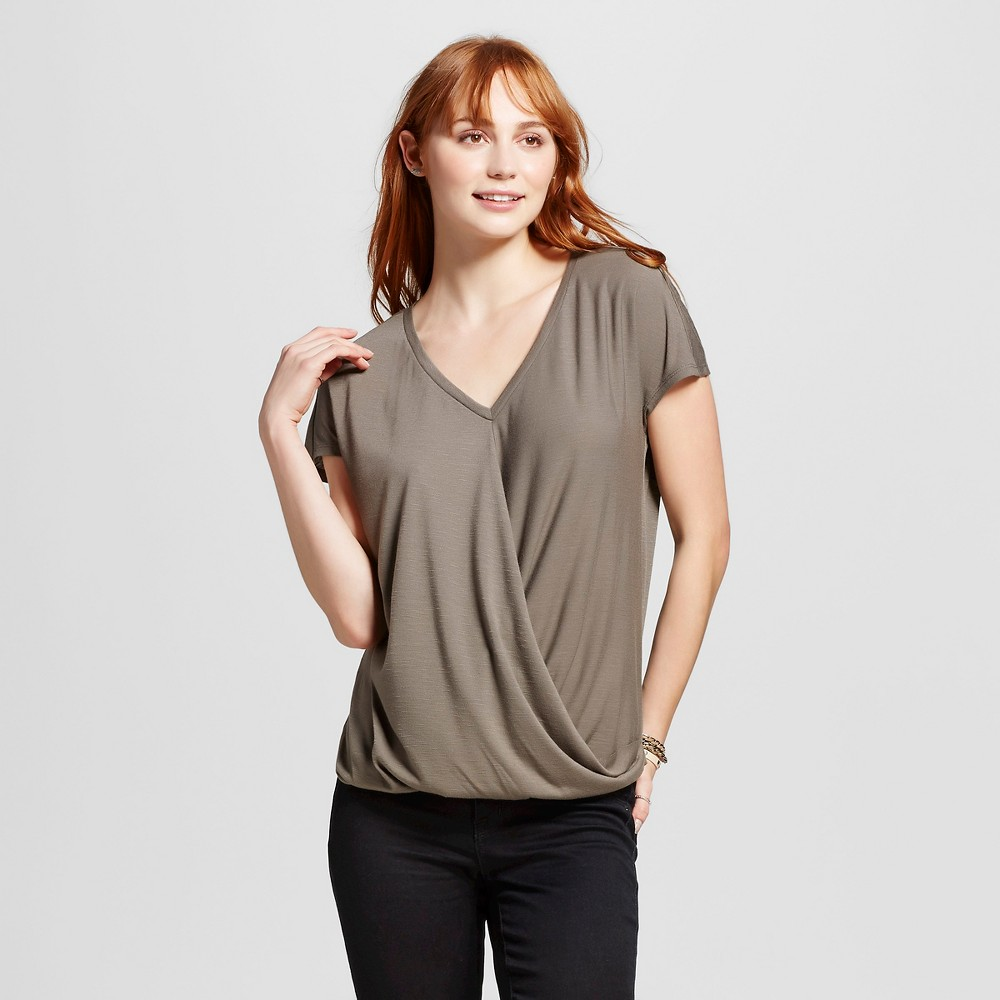 Women's Drapefront Short Sleeve Top Olive Green S – Mossimo