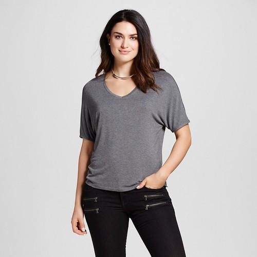 Women's Short Sleeve Knit Dolman T-Shirt - Mossimo Gray XS